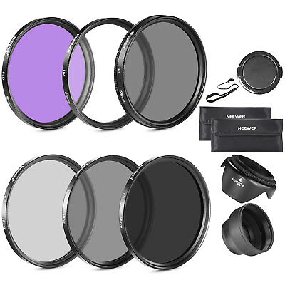 Neewer 58MM lente filtro Kit UV CPL FLD ND para NIKON D7100 D7000 + parasol tapa