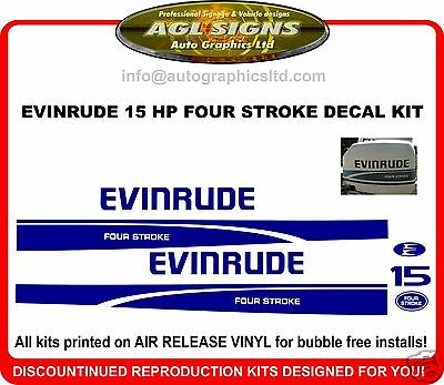EVINRUDE 15 HP FOUR STROKE  DECAL KIT , reproduction sticker