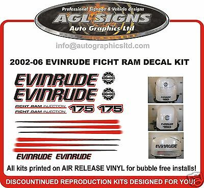 2002 - 06 Evinrude Ficht Ram 175 Hp Outboard Decals Stickers Reproductions