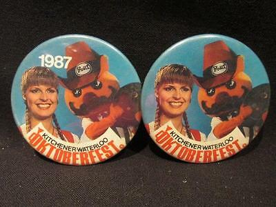 Kitchener Waterloo Oktoberfest 2 Pinback Buttons one Dated 1987 same image