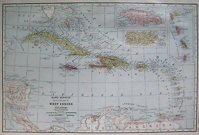 1927 Antique CARIBBEAN Map West Indies Map Rare Poster Print Size Map 2070