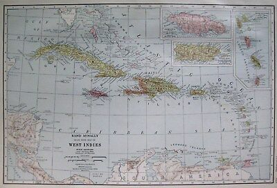 1927 Antique CARIBBEAN Map West Indies Map UNCOMMON Collectible Map 2070