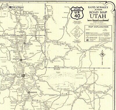 1927 RARE Antique UTAH Map Rare Poster Print Size Trails Utah Road Map  2077