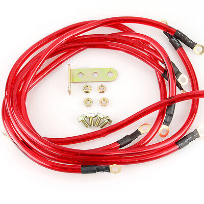 Universal Auto Car 5 Point Red Grounding Kit Earth Ground Wire Cable Performance