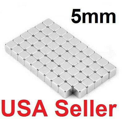 """Lot of 100 50 5*5*5mm block rare earth neodymium super strong magnets N35 3/16"""""""