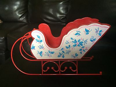 Vintage Red Wood And Metal Christmas Sleigh With Floral Pattern
