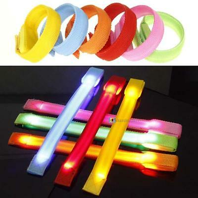 Flashing Running Gear Glowing LED Wrist Band Lights Flash Nylon Cuff Bracelet SS