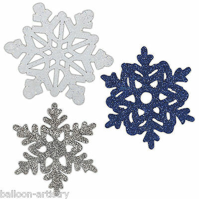 6 Assorted Christmas Elegant Mini Glitter Snowflake Cutout Party Decorations