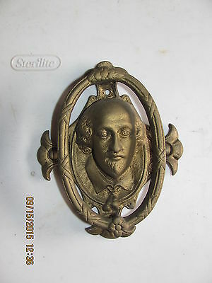Vintage Brass William Shakessphere Door Knocker