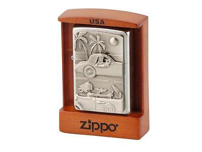 "ZIPPO ""CABRIO TRICK"" LIGHTER - CHROME BRUSHED * NEW in ROSEWOOD BOX *"