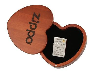 "ZIPPO SPECIAL EDITION ""LOVE/ HEART"" LIGHTER - CHROME POLISHED *NEW in WOODEN BOX"