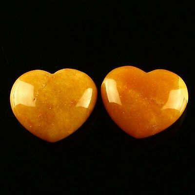 Z36724 Two Aventurine heart-shaped cabochon