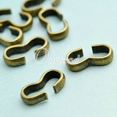 10g Approx 60pcs Iron Cord End Tips Link Connectors Jewelry Finding Lots 8x4x2mm
