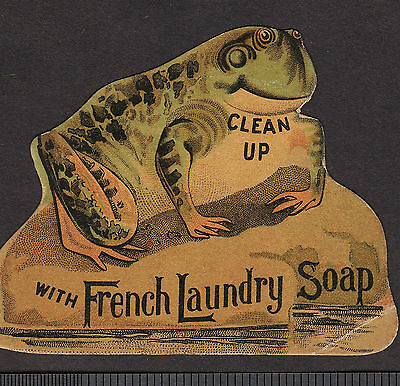 c 1800's Frog die-cut French Laundry Soap Kendall Providence RI Advertising Card