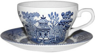 Churchill Blue Willow 6 Teacups + Saucers - New/unused
