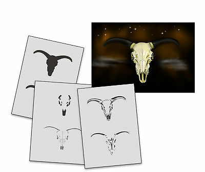Step by Step Stencil AS-245 Ox Skull ~ UMR Airbrush Stencil