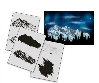 Step by Step Stencil AS-163 Ski Mountain ~ UMR Airbrush Stencil