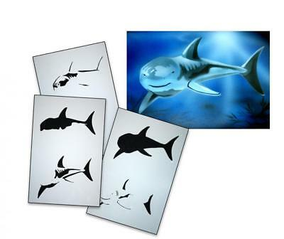 Step by Step Stencil AS-049 shark ~ UMR Airbrush Stencil