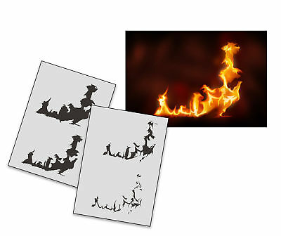 Step by Step Stencil AS-273 Flame ~ UMR Airbrush Stencil