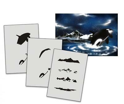 Step by Step Stencil AS-028 Orca ~ UMR Airbrush Stencil