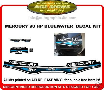 1999 MERCURY 90 HP Bluewater  OUTBOARD DECAL SET, 75