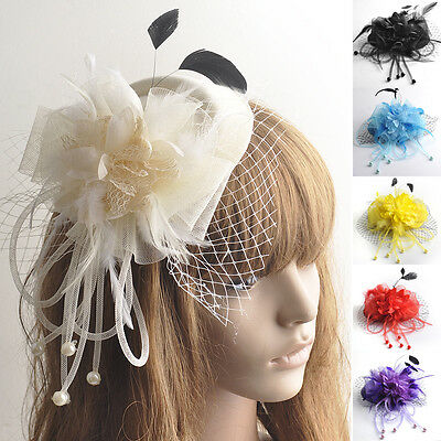 Women Hair Clip Flower Bead Wedding Cocktail Fascinator Veil Pillbox Hat Feather