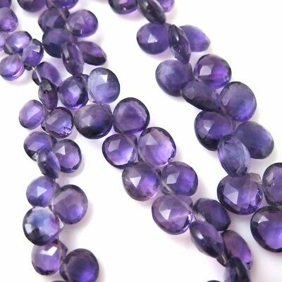 100% Genuine Semiprecious Amethyst Gemstone Heart Briolette- Nature Stone