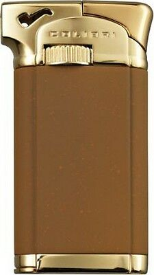 "COLIBRI CONNAUGHT II 2 ""TOBACCO/ GOLD"" ANGLED FLAME PIPE LIGHTER * NEW in BOX *"
