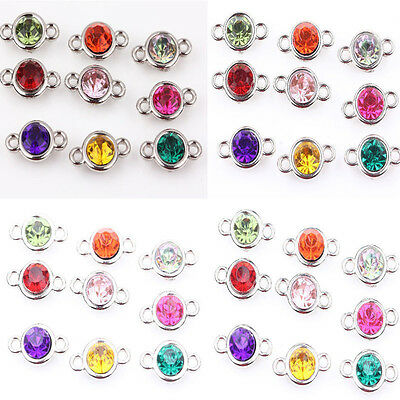 20/100pcs Mixed Color Clear Czech Crystal Link Connector Charms Beads 6~10mm DIY