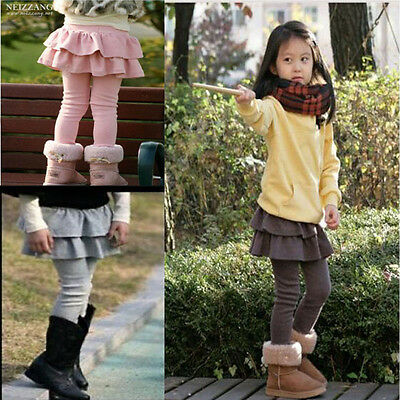 Cute Kids Girls Spring Autumn Ruffle Tutu Skirt Cake Culottes Leggings Pants