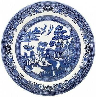CHURCHILL BLUE WILLOW 6 SALAD PLATES 20cm - NEW/UNUSED