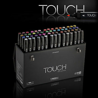 SHINHAN Art TOUCH TWIN 60 Marker Set A Twin tips - 60 COLORS / Express Shipping