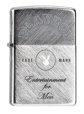 """ZIPPO """"PLAYBOY"""" BRUSHED CHROME LIGHTER / 60000095 ** NEW in BOX **"""