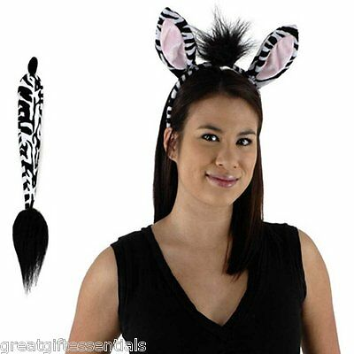 ZEBRA COSTUME KIT Ears Tail Headband Adult Child Kids Black White Striped Animal