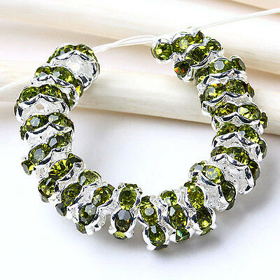 20 pcs Light Green Rhinestone Round Spacer Beads 6mm Fashion Jewellery Gift