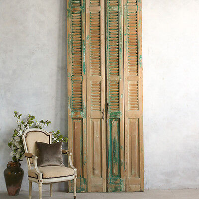 Shabby Cottage Chic Vintage Style French Green Architectural Old Pair Doors Tall