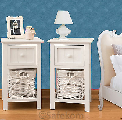 Pair Of Shabby Chic White Bedside Units Tables W/ Wicker Storage Basket Bedroom
