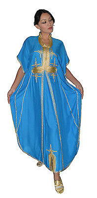 Moroccan Caftan Women kaftan Abaya Beach Cover Summer Long Dress Cotton Blue