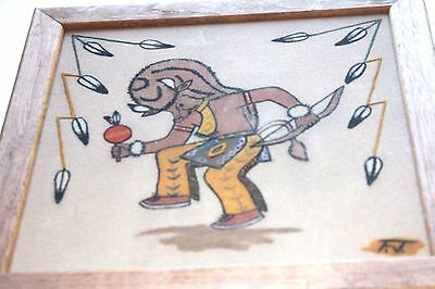Vintage Navajo Indian Sand Painting, Buffalo Dancer by Fred John,  12 by 12 in.