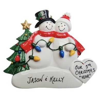 Personalized Snowman Couple with Lights Christmas Ornament