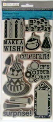 Birthday Party 13 Rubber Cling Stamps by TPC Studio  NIP