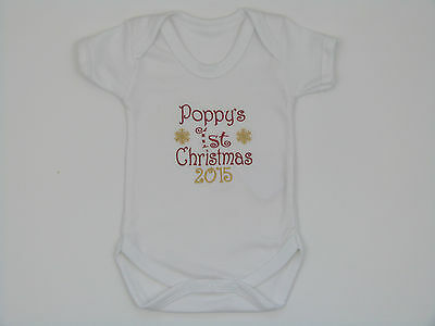 Personalised Name My 1st First Christmas 2018 Embroidered Baby Vest Cute Gift