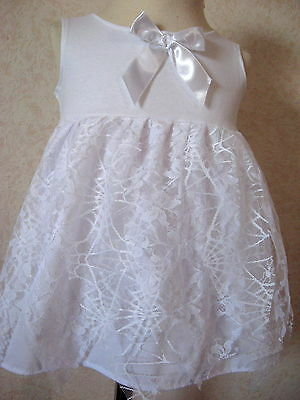 New Girls White Fairy Witch Web Lace Petal Smock Top Dress Halloween Party Gift