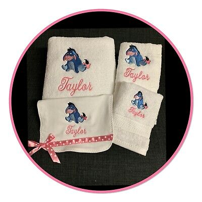 Personalised Bath Set Embroidered With ' Eeyore '