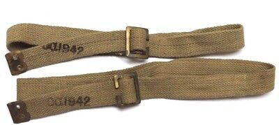 Ca 1942 p37 British Tan canvas web pack n utility straps 29in L  lot of 2 E8333