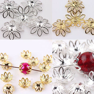 Lots 50Pcs Silver/Gold Plated Metal Flower Bead Cap Hollow Filigree Finding 20mm