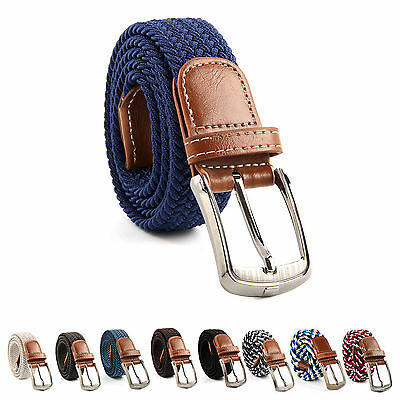 UK Seller Men Women Canvas Cotton Elastic Woven Leather Pin Buckle Waist Belt