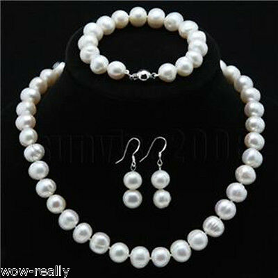 Fashion 8-9mm White Cultured Pearl Necklace Bracelet Earring Jewelry Set
