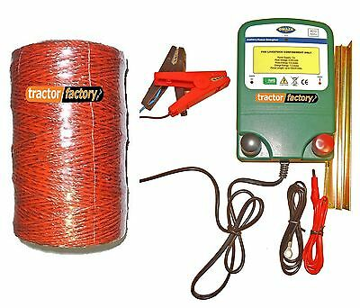 Electric Energiser Fencer Unit 12V + Earth Stake/fence Leads /250M Polywire