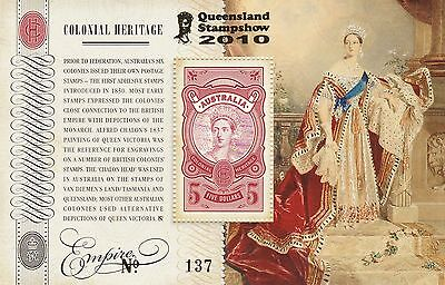 Australia 2010 Colonial Heritage, SG 3394 MUH MS, Gold Overprint QLD stampshow